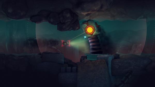 Screenshot: ein Raumschiff steht vor einem Hindernis