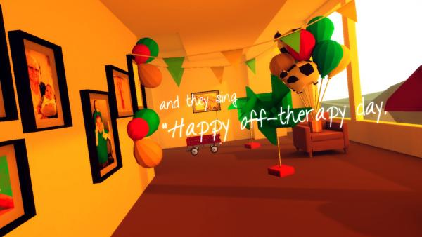 "Screenshot: In einem Raum sind Ballons und Fahnen aufgehängt. In der Mitte steht der Text ""and they sing Happy off-therapy day."""
