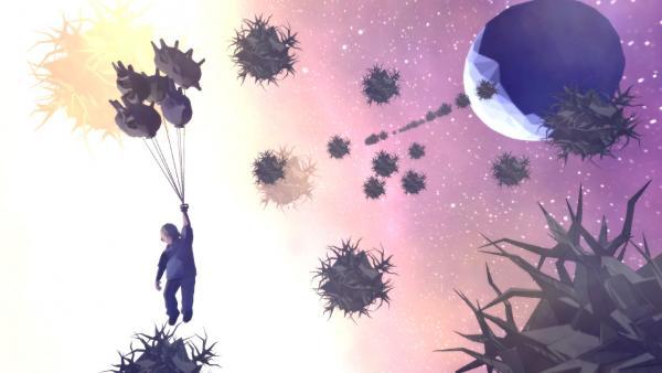 Screenshot: Ein kleiner Junge lässt sich von mehreren, stachelig geformten Ballons in die Luft ziehen. Im Hintergrund schweben stachelige Kugeln vor einem blauen Planeten und einem Sternenhimmel