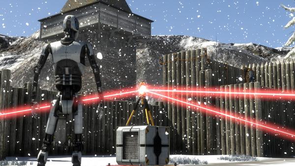 Screenshot: Ein weißer Android steht vor einem Gerät, das rote Laserstrahlen in drei verschiedene Richtungen ausstrahlt.