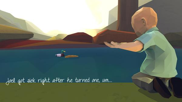 """Screenshot: Ein kleiner Junge sitzt am Rand von einem Teich und füttert eine Ente mit Brot. Rechts neben ihm steht der Text """"Joel got sick right after he turned one, um..."""""""