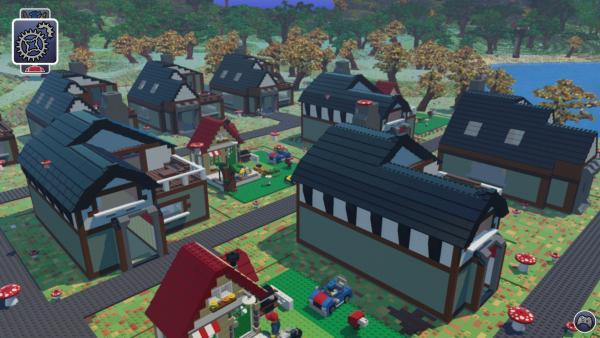 Screenshot: Eine kleine LEGO-Stadt mit verschiedenen Häusern im Fachwerkhaus-Stil