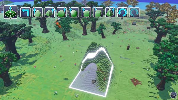 Screenshot: Eine Lichtung in dessen Mitte über ein spezielles Baumenü die Landschaft verändert wird