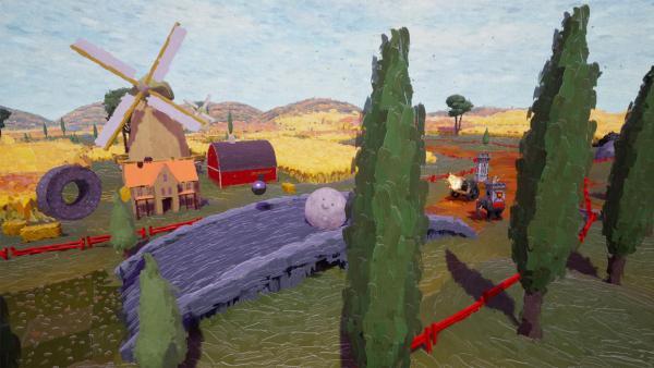 Screenshot: In einer an Van Gogh'sche Zeichnungen erinnernde Landschaft rollt eine Steinkugel über eine Brücke