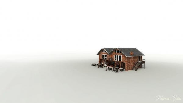 Screenshot: Ein aus Backstein gebautes Restaurant in einer kahlen Umgebung