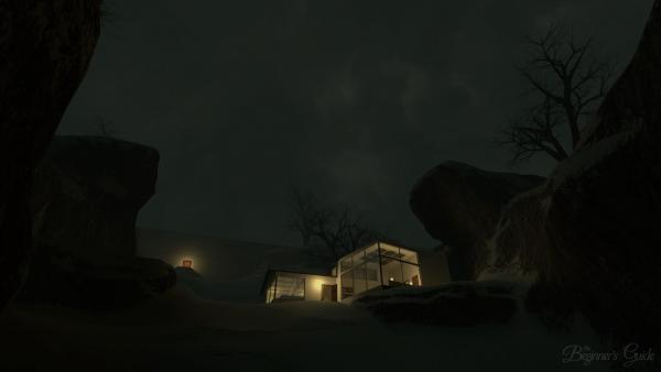 Screenshot: In finsterer Nacht sind zwei Zimmer eines Hauses von innen her hell beleuchtet