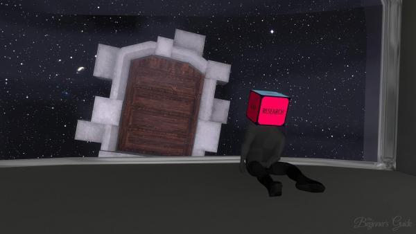 """Screenshot: Ein Mensch mit einem """"Research""""-Würfel statt eines Kopfes sitzt auf einem bühnenartigen Podest vor einem Sternenhimmel"""