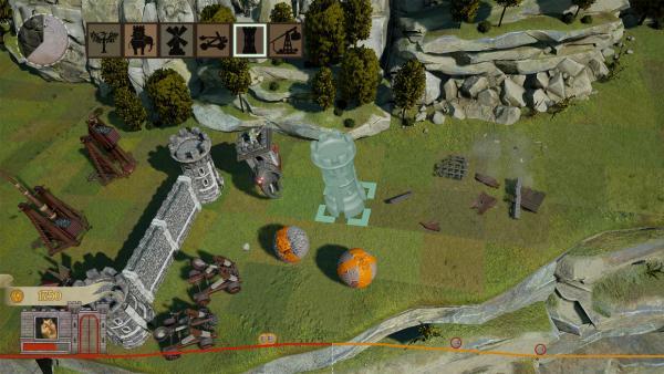 Screenshot: Im Planungsmodus werden in einer isometrischen Ansicht Verteidigungstürme platziert