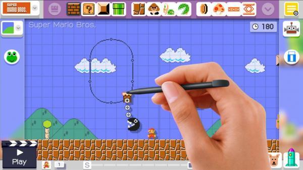 Screenshot: Elemente werden im Baukasten-Modus mit dem Touchpen in die Welt gezogen.