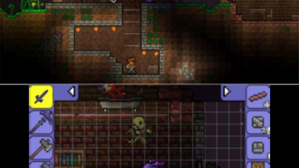 Screenshot: ein Haut mit Keller und ein Skelett, das die Spielfigur jagt