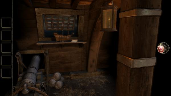 """Screenshot von """"The Room Two"""" mit einem Modellschiff und einer Schiffskanone"""