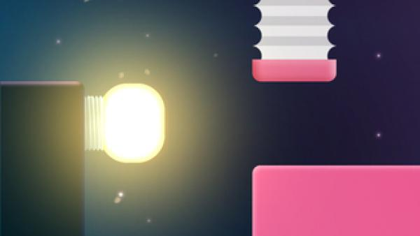 Screenshot:ein Level aus Blöcken, ein weiblicher Charakter, ein Ei, eine Batterie, eine leuchtende Glühbirne