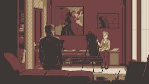 Zwei Personen, eine davon malt an einem Bild