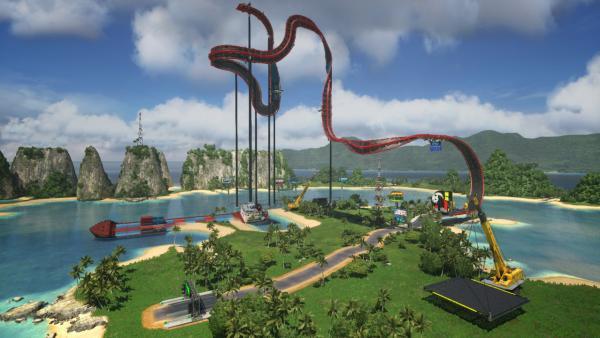 Screenshot: Eine hohe Strecke wird gebaut