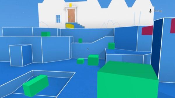grüne Quader auf blauen Boden