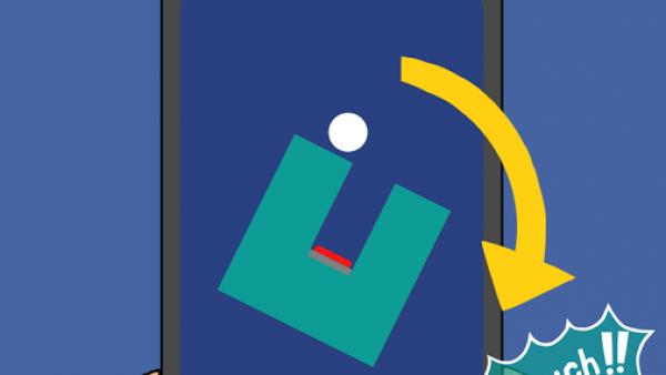Screenshot: Zwei Hände halten ein Smartphone auf dem ein Ball in einem Labyrinth zu sehen ist, dabei eine Erklärung auf Englisch.