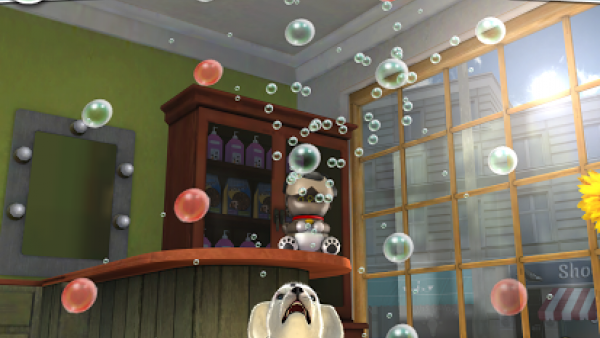 Ein Hund fängt Seifenblasen.