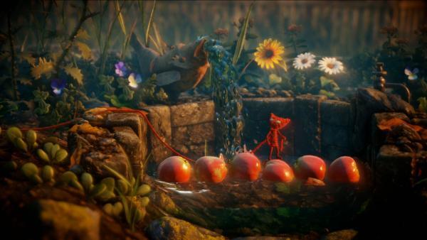 Screenshot: Yarny steht auf einem Apfel, der am Wasser eines Brunnen schwimmt