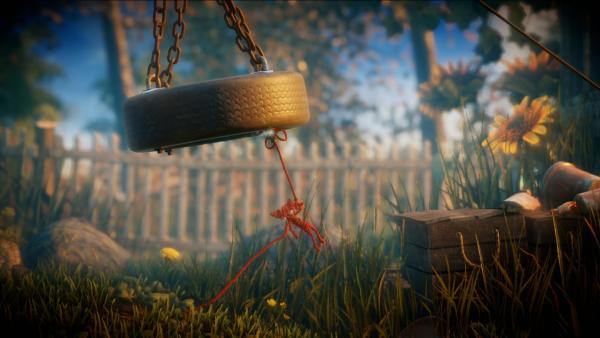 Screenshot: Yarny schwingt an einer Reifenschaukel