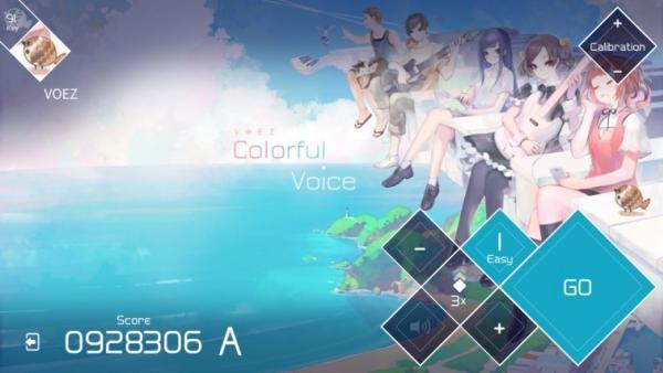 Screenshot: Ein Strand am Meer und eine schwebende, riesige Klaviertastatur auf der ein paar Jugendliche im Mangastil sitzen.