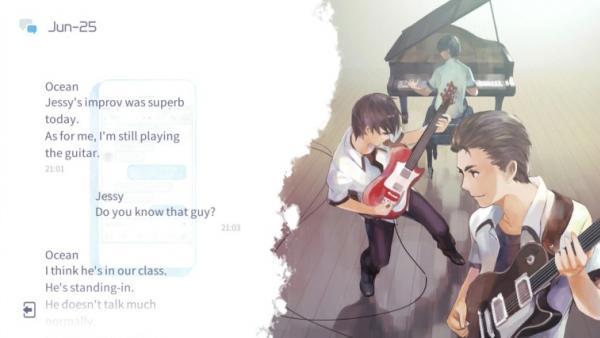 Screenshot: Links wird ein Dialog auf Englisch eingeblendet, rechts sind drei musizierende Jugendliche abgebildet.