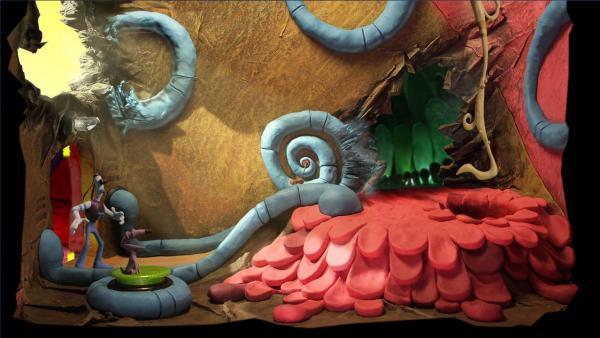 Screenshot: Beide Spielfiguren stehen in einem fiktiv aussehenden Raum