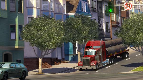 Screenshot: Auf einer von für San Francisco typischen hügeligen Straßen fährt ein LKW bergab.