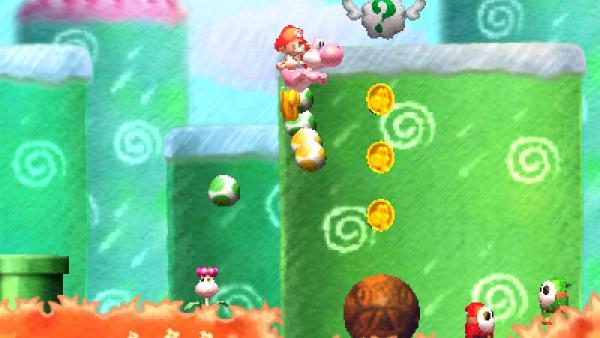 """Screenshot von """"Yoshi's New Island"""" mit einem springenden Zeichentrick-Dino"""