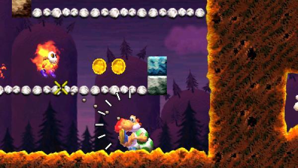 """Screenshot von """"Yoshi's New Island"""" mit einem Dino, der Eier schießt"""
