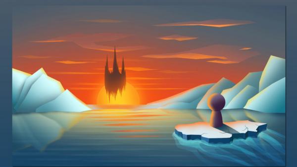 Die Spielfigur schwimmt auf einer Eisscholle zu einem schwebenden Schloss zu.