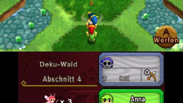 Screenshot: die drei Helden stellen sich übereinander und bilden einen Totem