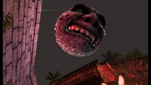 ein grusliger Mond mit Gesicht