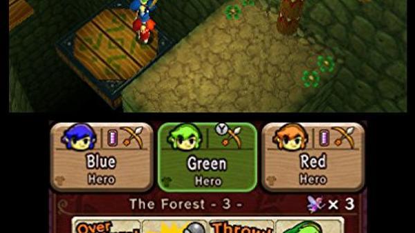 Screenshot: die drei Helden stellen sich übereinander um mit Pfeil und Bogen auf ein erhöhtes Ziel zu schießen