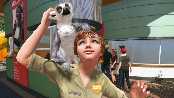 Zoowärterin mit Tier