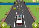 Screenshot: Der Polizist versucht im Polizeiauto alle Lego-Steinchen auf der Straße einzusammeln.