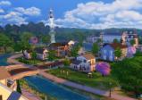 Überblick über die grüne Stadt, ein Raumschiff hebt im Hintergrund ab.