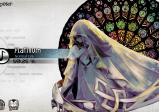 Screenshot: Ein Mädchen in weißem Kleid steht vor einem bunten Glasfenster. Daneben eine Auswahl an Liedtiteln.