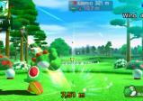 Screenshot: Yoshi auf dem Golfplatz, während des Abschlags.