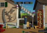 Screenshot: Zwischen zwei Häusern steht eine sonderbare Konstruktion, die Bälle ähnlich wie ein Flipper weiterbefördert. Ziel ist es eine grüne Kugel durch einen grünen Ring rollen zu lassen.