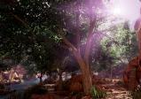 Screenshot: Canyon in dem ein kleiner Bach fließt und rundherum ein kleiner Laubwald wächst. Die Sonne scheint sanft durch das Blätterdach.