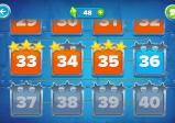 Screenshot: Die Levelauswahl. Einige bereits absolvierte Level sind orange eingefärbt.