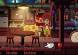 Screenshot: Ein Clown mit Ballon in seinem Zirkuswagen.