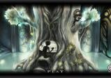 Screenshot: Ein schwarzes Wesen vor einem Baum mit eingewachsenem Klavier. Auf dem Baum sitzt ein kleines Mädchen.