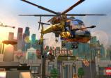 LEGO-Hubschrauber fliegt durch die Luft