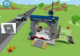 Screenshot: Polizeistation mit Einsatzwagen und Lego-Polizist.
