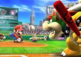 Screenshot: Bowser macht sich bereit den Baseballschläger zu schwingen, Mario wirft den Ball, im Hintergrund ein Baseball-Stadion.