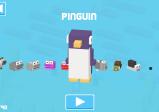 Screenshot: Das Charakter-Auswahlmenü. Ein Pinguin ist bunt im Vordergrund zu sehen, mehrere andere Charaktere dahinter.