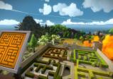 Screenshot: Vier Irrgärten in einem Burghof, davor eine Schalttafel.