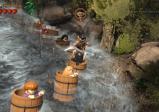 Legofiguren in Fässern, die einen reißenden Fluss runter schwimmen
