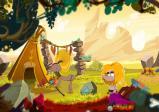 Screenshot: Hauptcharakter nähert sich einem Zelt und dessen Bewohner.